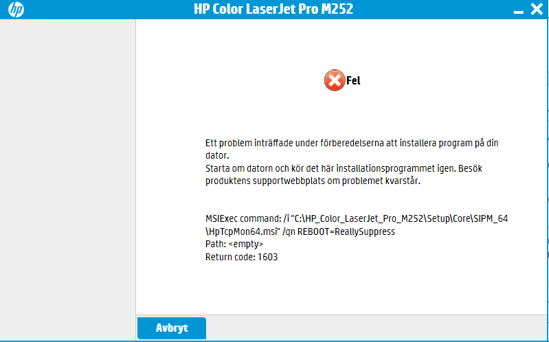 Return code 1603 during installation - HP Support Community