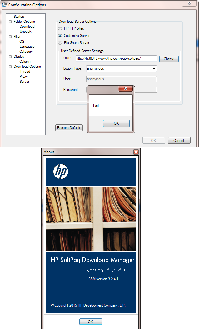 how to set customize server for HP Softpaq download manager
