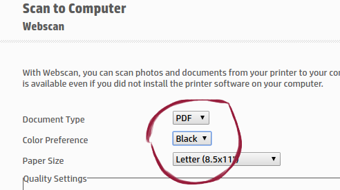 Chromebook won't scan to pdf using Web Scan - HP Support