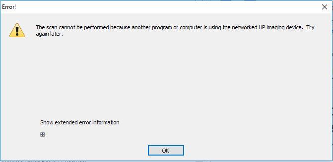 Wireless Scanner Error after Windows 10 Anniversary Update - HP