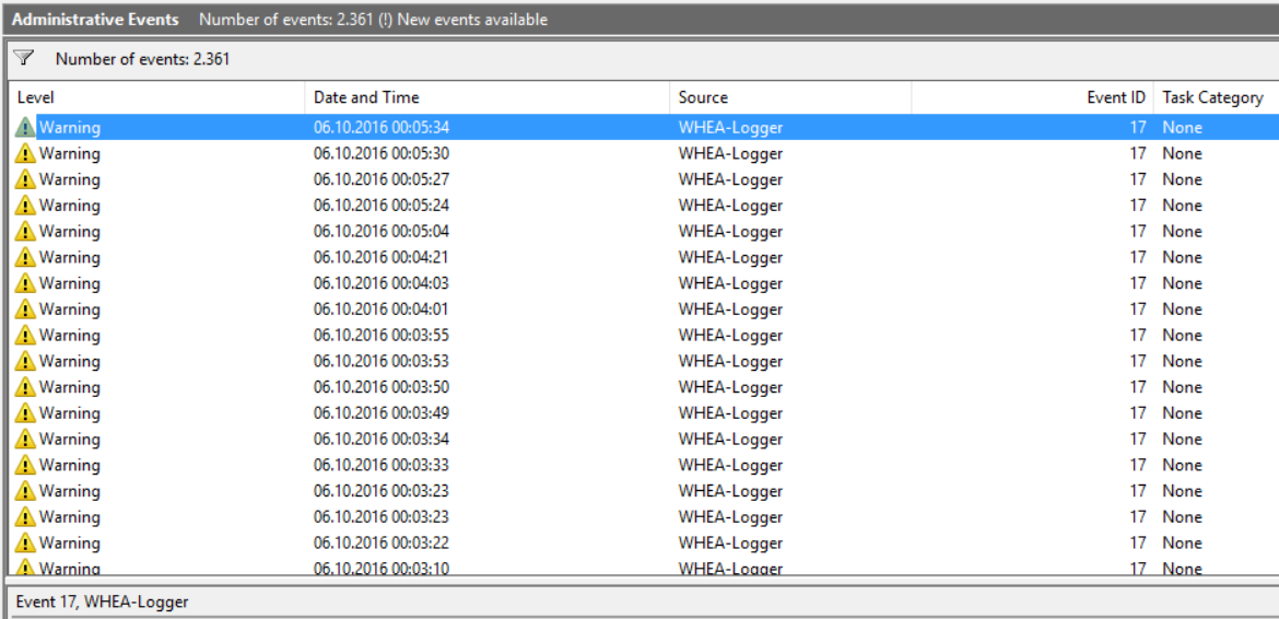 WHEA-Logger flood - Event ID 17 - HP Support Community - 5424405