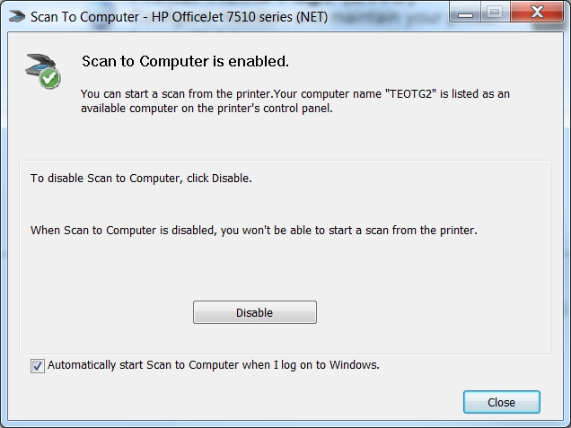 Solved: How do I enable scan to computer since windows 10