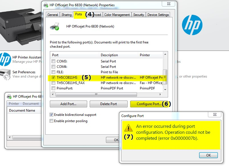 Printer Port Error Message