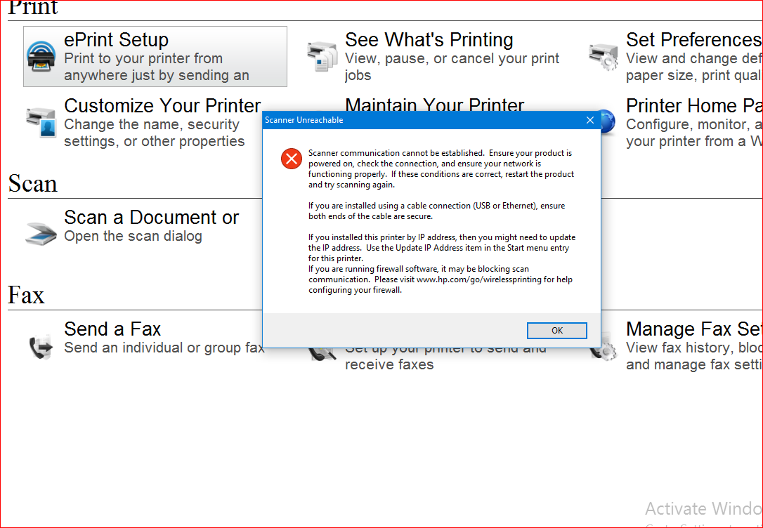 HP Printer Assistant cannot find SCANNER after Win10 upgrade