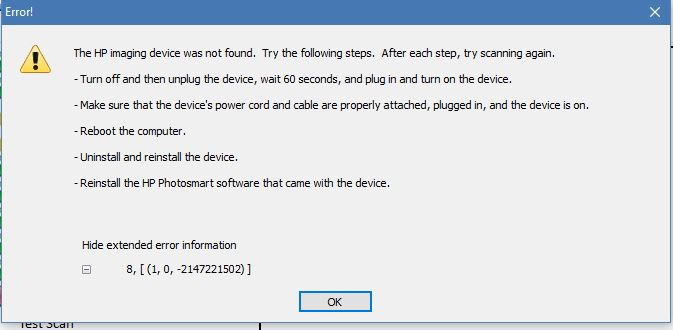 Solved: C310A Scanner not 'found' under W10 Aniv  Update - HP