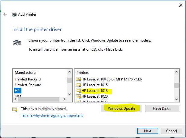 software stampante hp laserjet 1018
