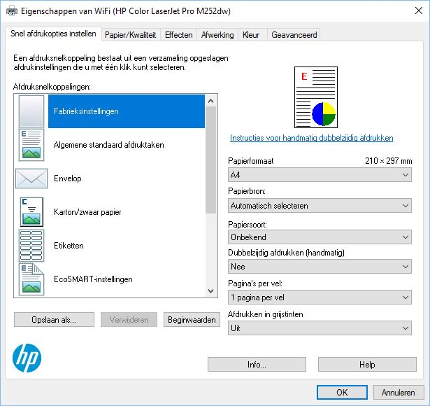 Installed The HP Color LaserJet Pro M252dw It Seems I Cannot Auto Duplex Print Only Manual