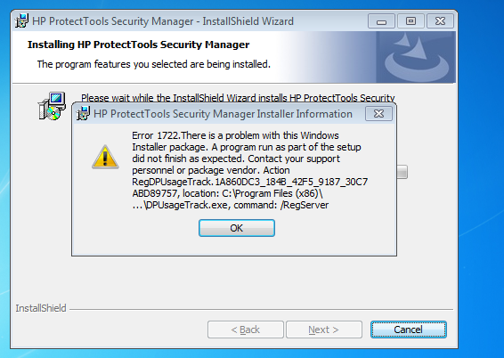 Hp protect tools installation error 1722 - HP Support