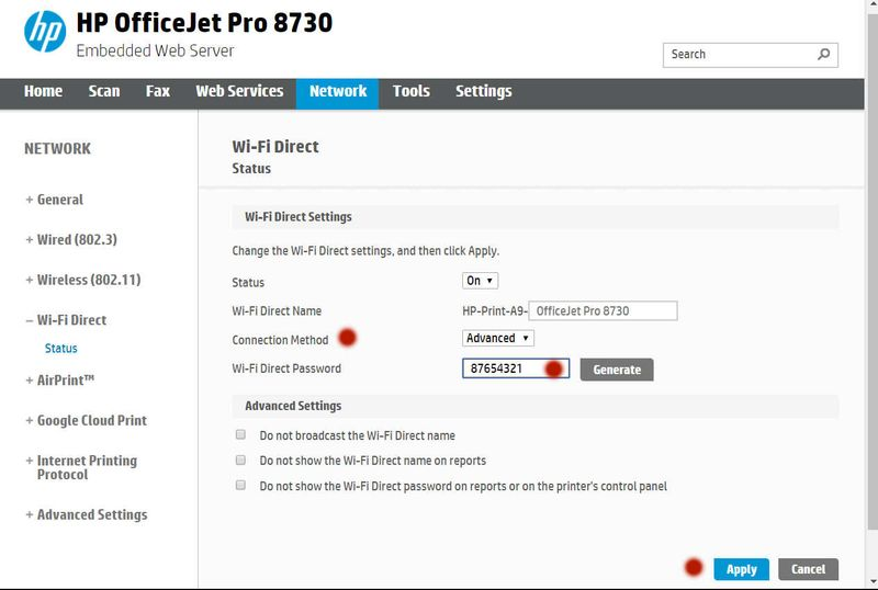 Solved: Change 8710 WI-FI Direct password - HP Support