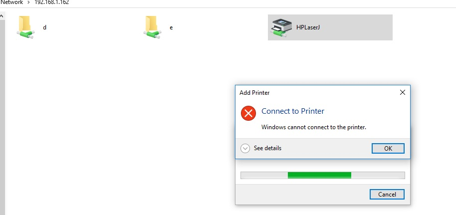 connect to a network printer windows 10