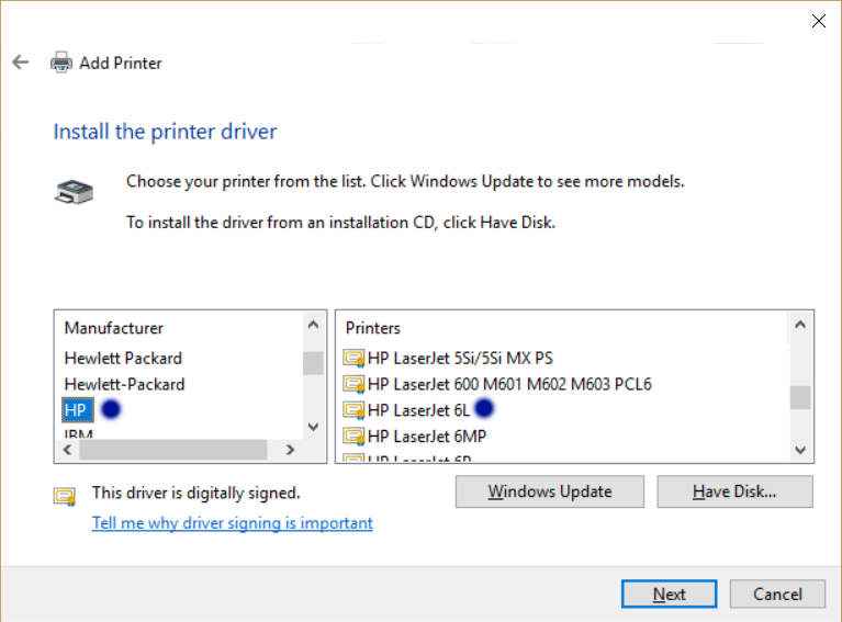 Download driver hp laserjet 6l series printer and install.