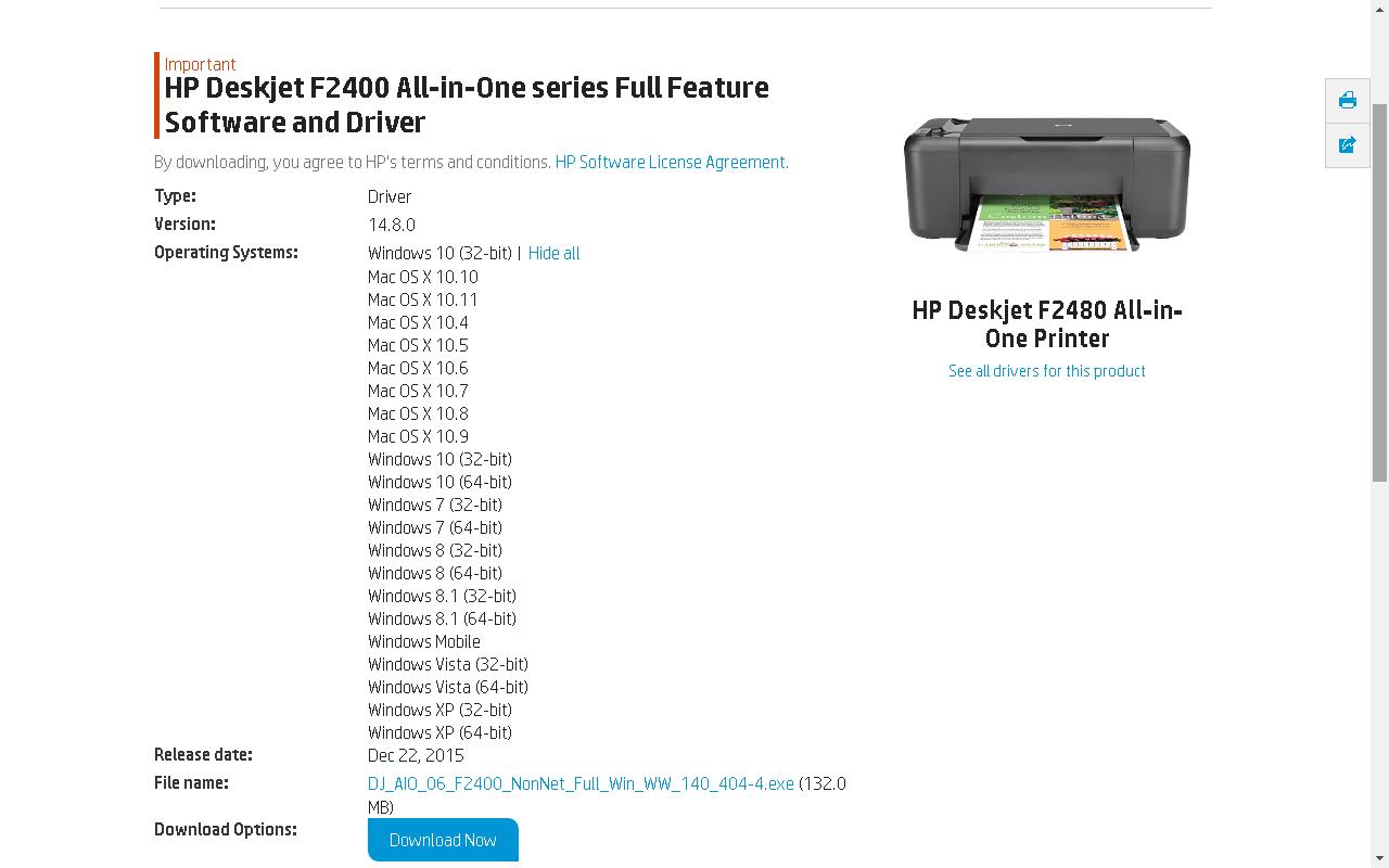 Hp deskjet f2480 скачать драйвера windows 7