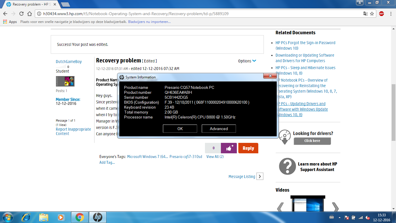 Solved: Recovery problem - HP Support Community - 5889109