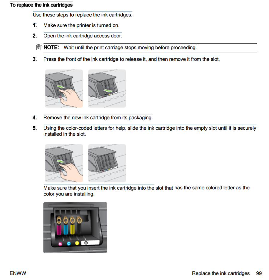 how to change ink in hp printerpsc1410