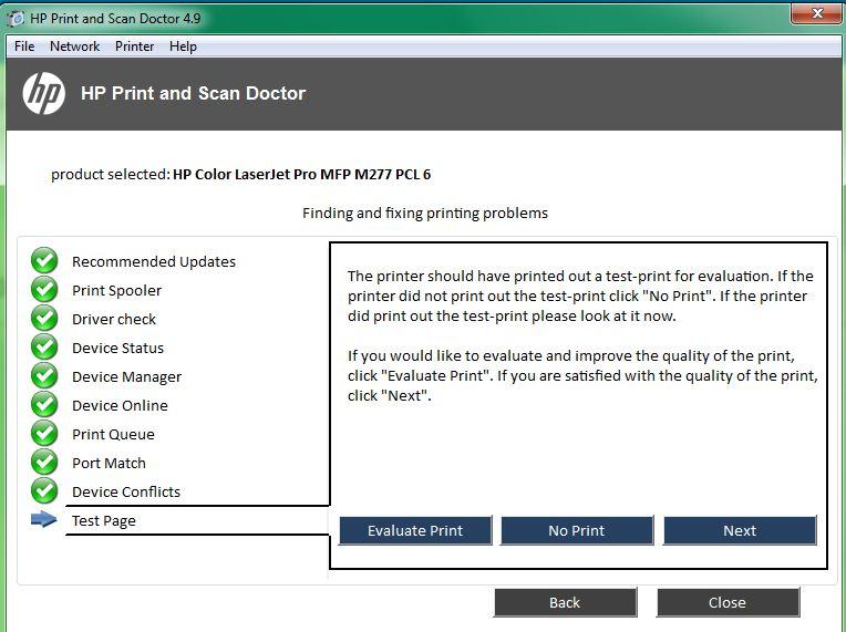 how to get hp 1410 to run a test print