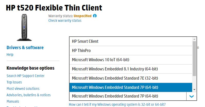Solved: Installing Windows7 embedded-64 bit on thin client