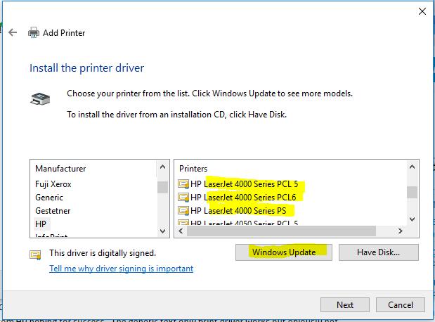 Hp laserjet 4000n windows 10 driver