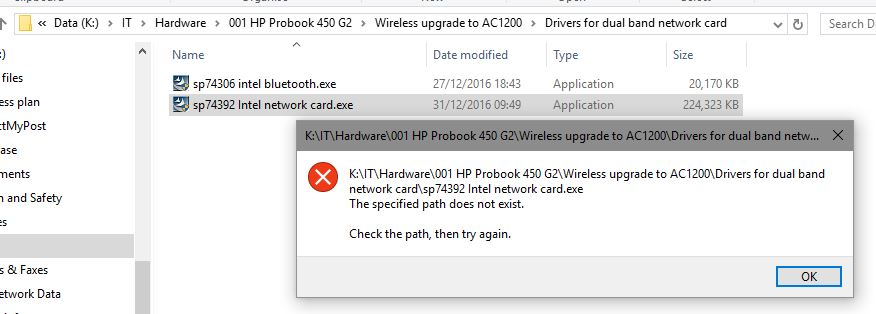 sp74392 Intel network card driver install shows path error