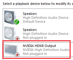 Solved: Nvidia HDMI Output