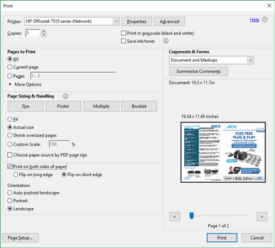 HP OfficeJet 7510 borderless A3 printing not an actual size