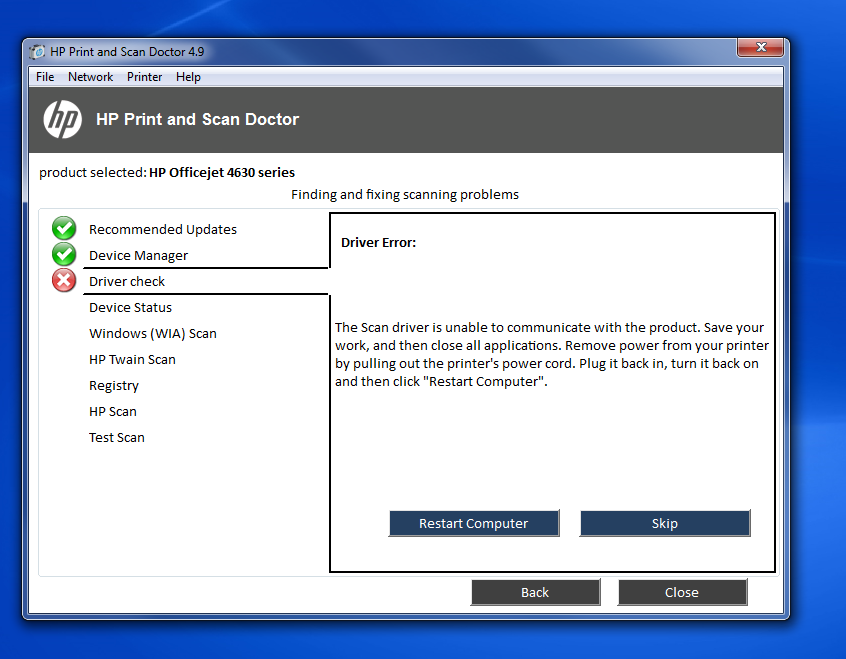 hp officejet 4630 scan busy - HP Support Community - 5953947