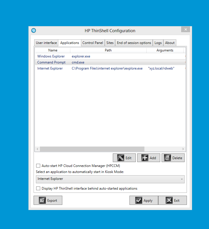 Thin Client Easy Shell Application issue in Kiosk Mode conne    - HP