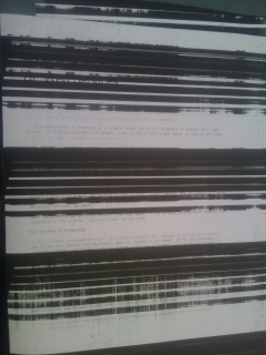 LASERJET 200 printer is printing thick black lines on a docu