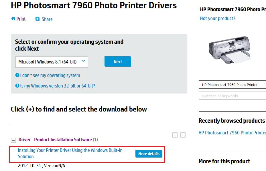 Printer driver 7960 hp