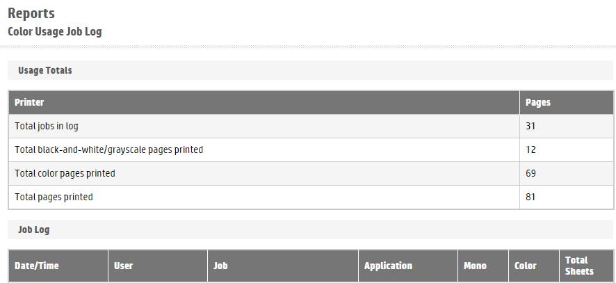 HP OfficeJet Pro 8720 Export Color Usage Job Log