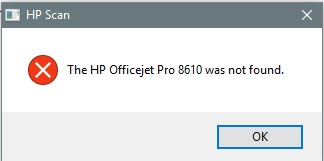 Solved: Officejet Pro 8610 Not Found when Scanning - HP