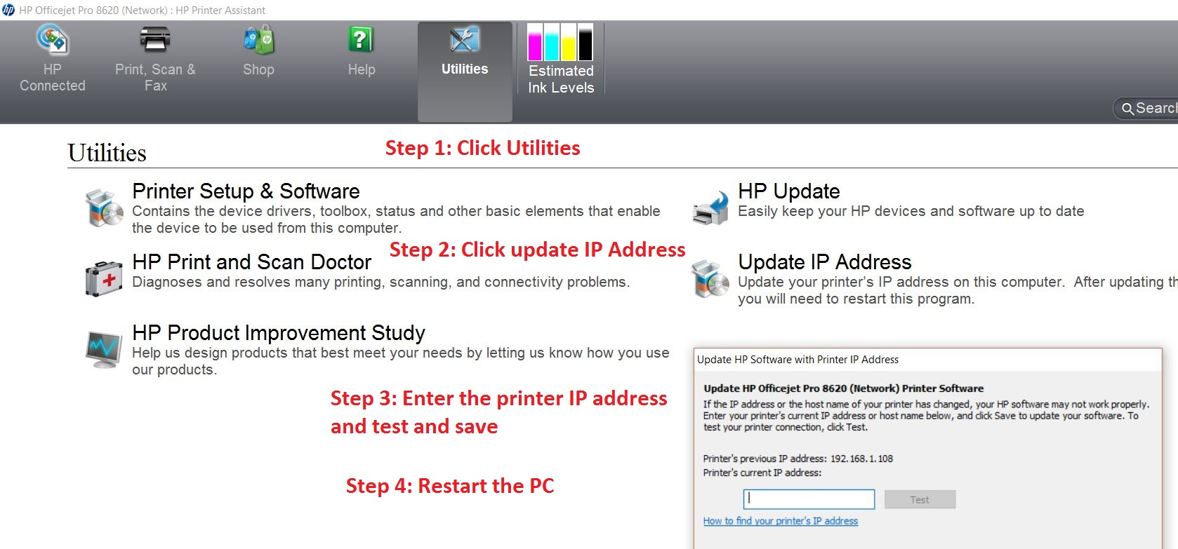 The HP OfficeJet 4650 Series was not found