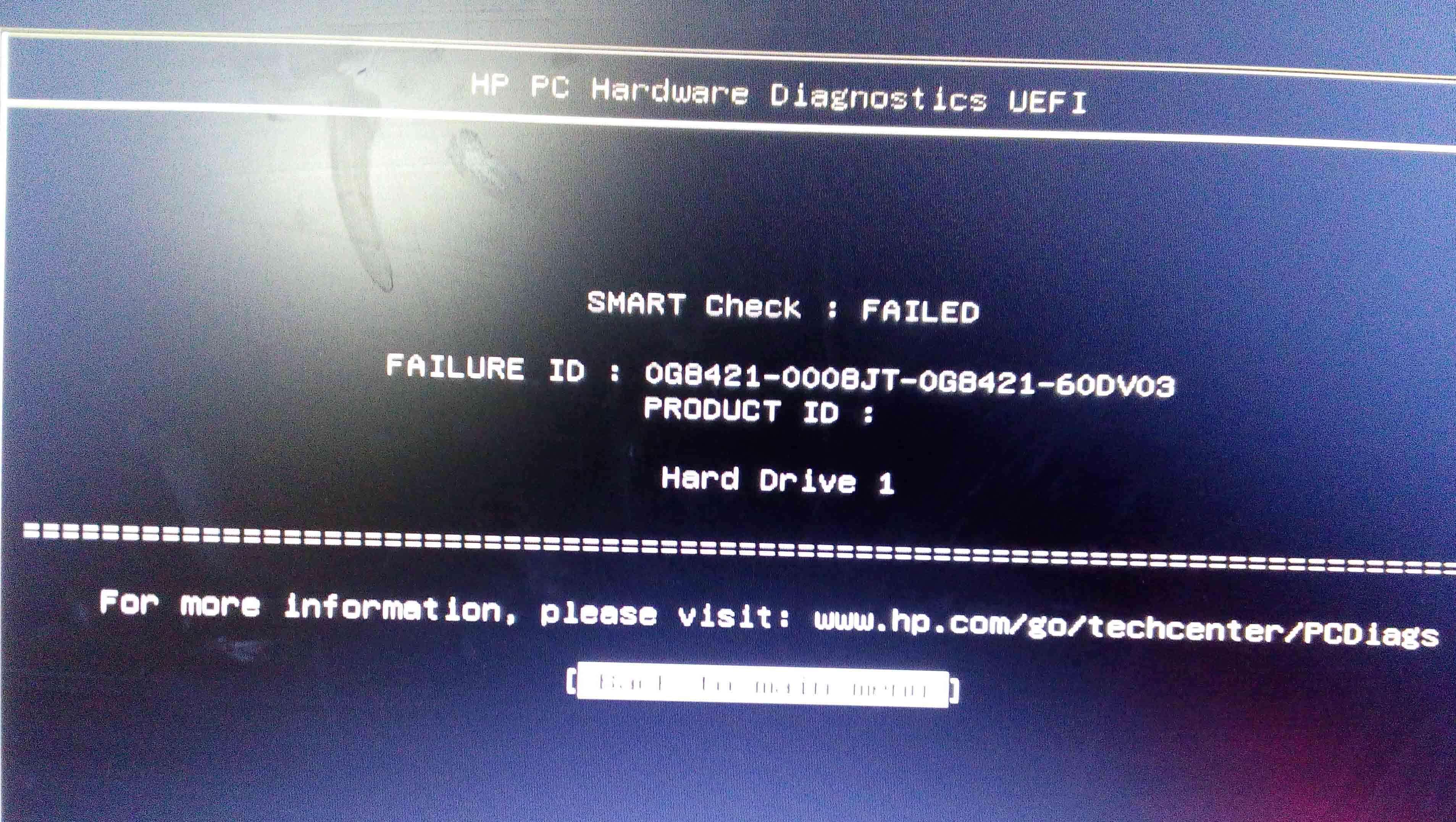 hp smart hard disk error :- hard disk 2(302) - HP Support
