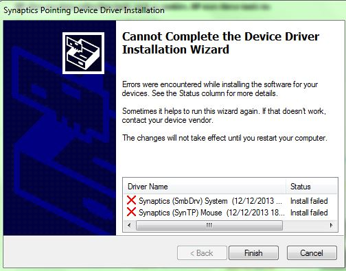 Synaptics touchpad driver fails to install - HP Support
