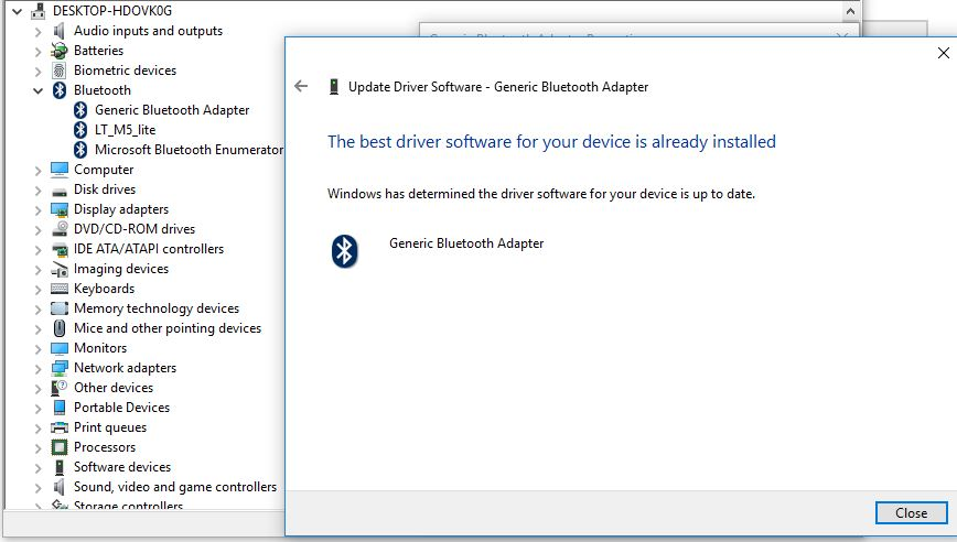 Broadcom 2070 Bluetooth Software and Driver don't work on th