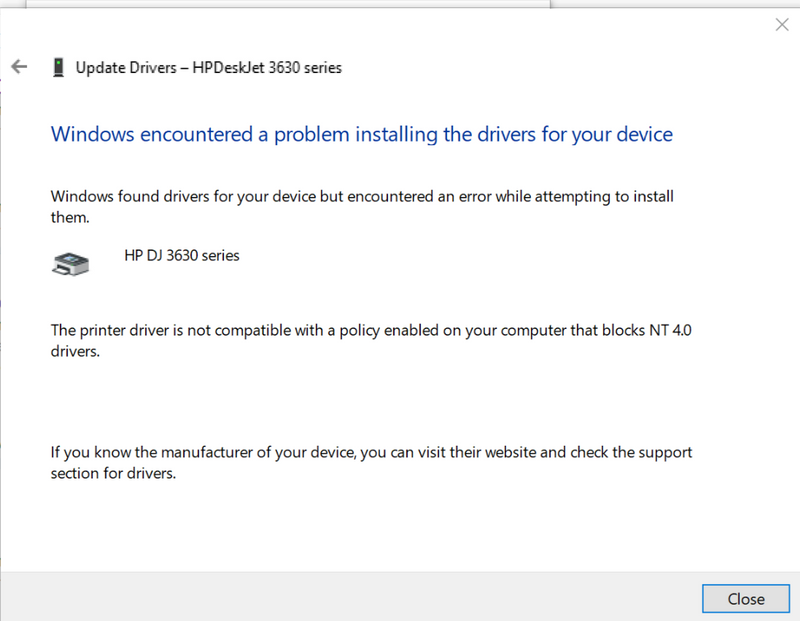 Solved: windows cannot install hp 3632 kernel mode print driver - HP