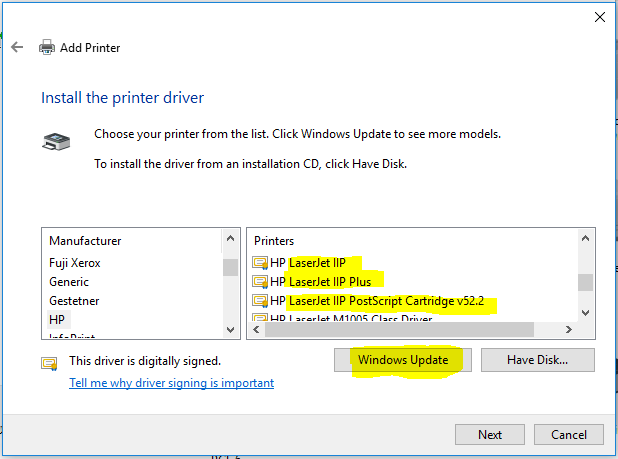 windows 10 driver for hp iip - HP Support Community - 6096273