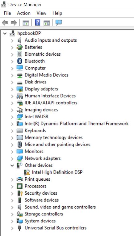 Intel high definition audio dsp driver windows 10