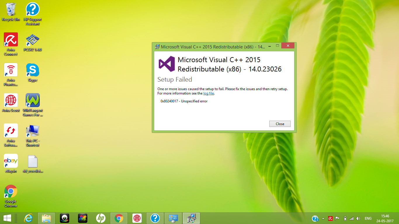 microsoft visual c++ 2015 redistributable unspecified error