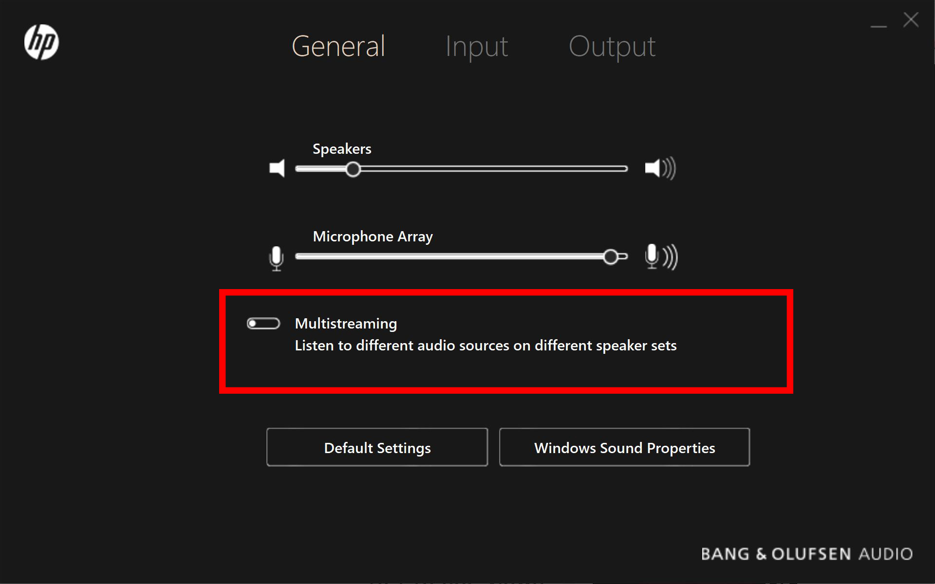 Bang and Olufsen settings greyed out - HP Support Community - 5720016