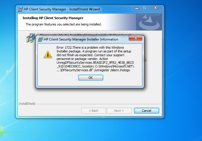 Solved: Re: error 1722 - HP Support Community - 6148578