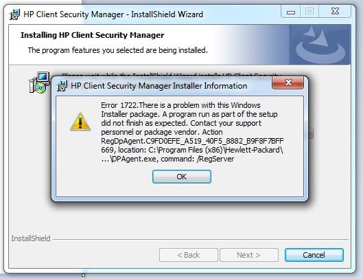 Error 1722 Problem With Windows Installer Package