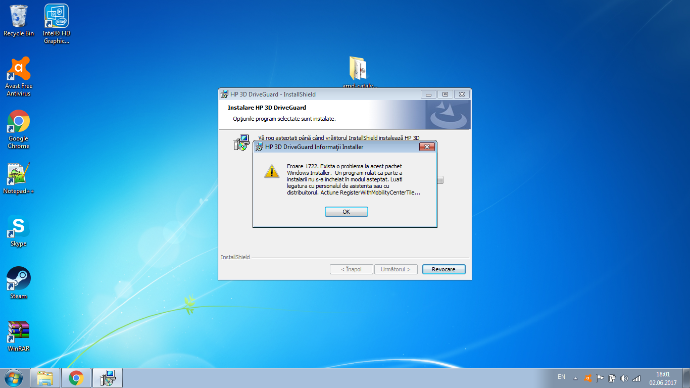 HP 3D DriveGuard Win7 Error 1722  Help - HP Support