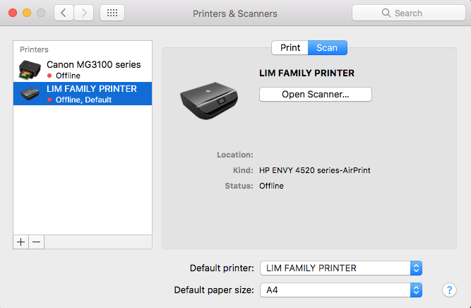 ENVY 4520 won't scan to my MAC (OS Sierra) - HP Support Community