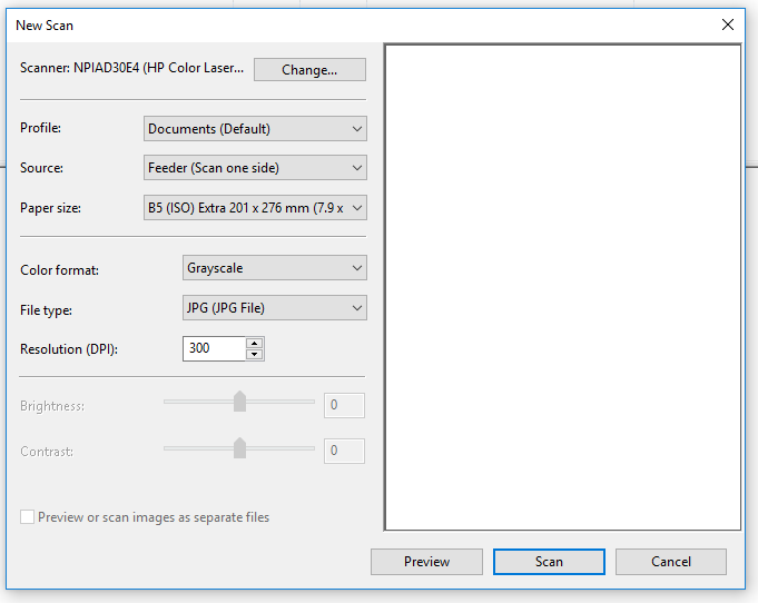 Windows Fax and Scan does not offer A4 paper size when scann