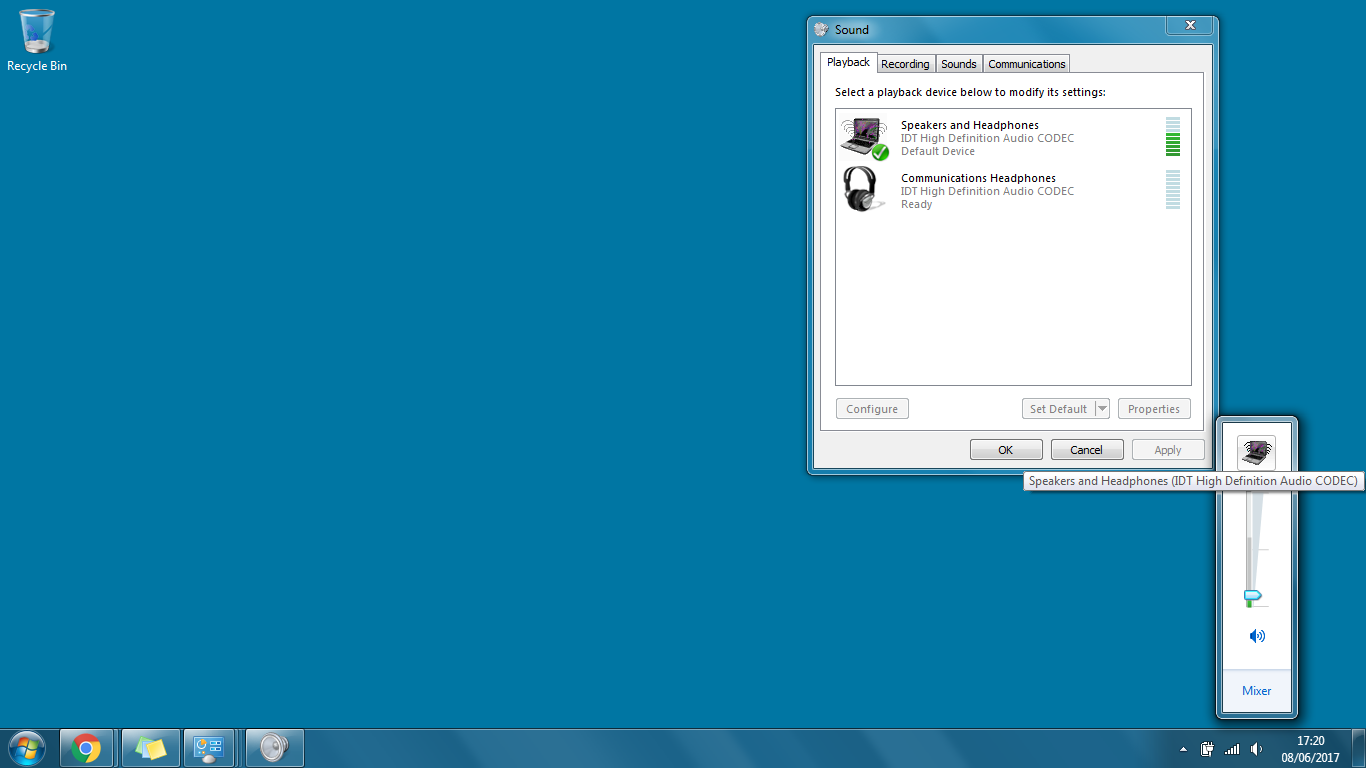 Help there is no sound on the laptop, through the speakers and headphones there, separately no, windows7 is