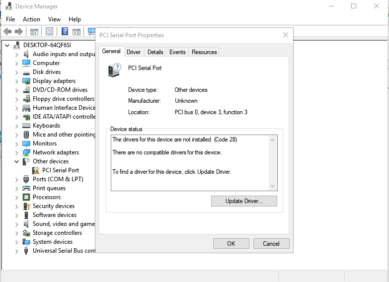 Solved: PCI Serial port driver - HP Support Community - 6167549