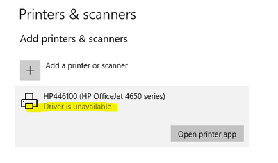 OfficeJet 4652 Drivers Unrecognized after Windows 10 Reinsta
