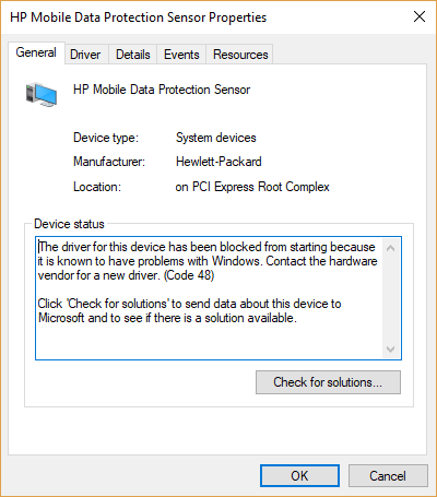 free fall data protection driver error