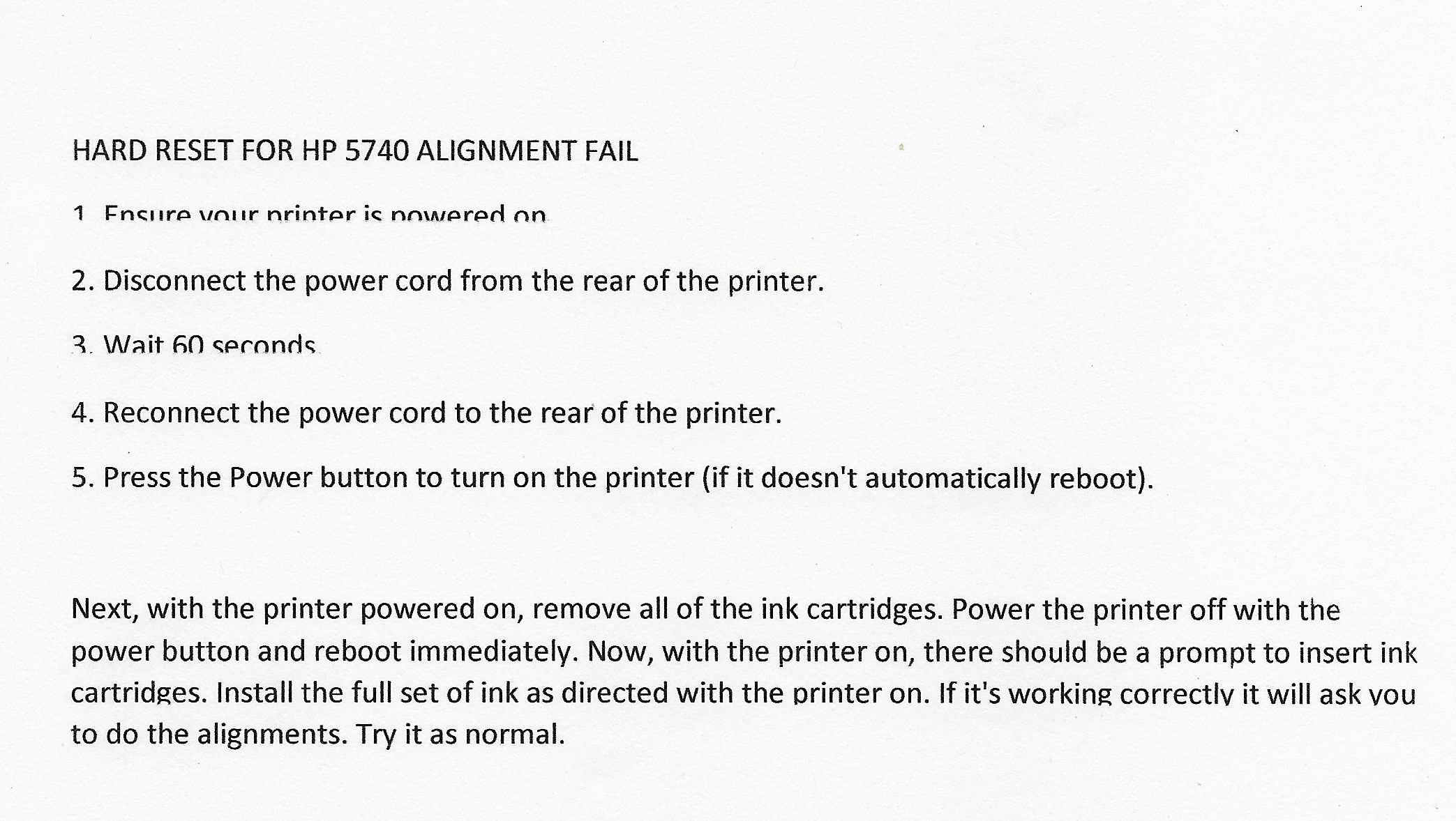Solved: HP 5745 Printer Some lines only print half - HP Support