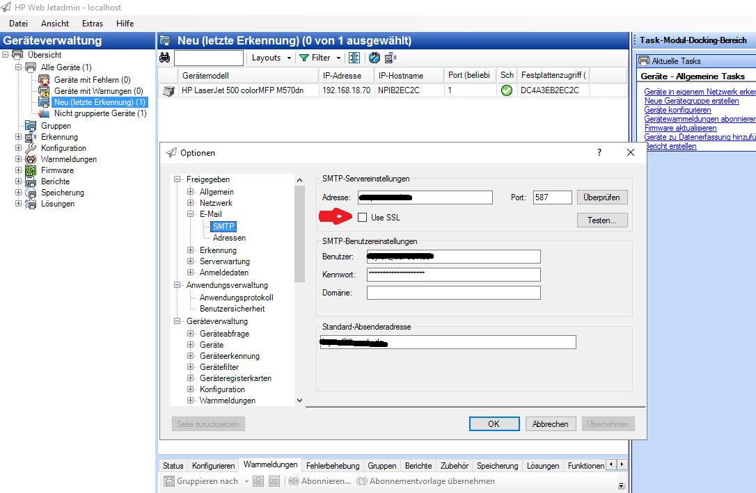 Web Jetadmin SMTP SSL not working permanently - HP Support